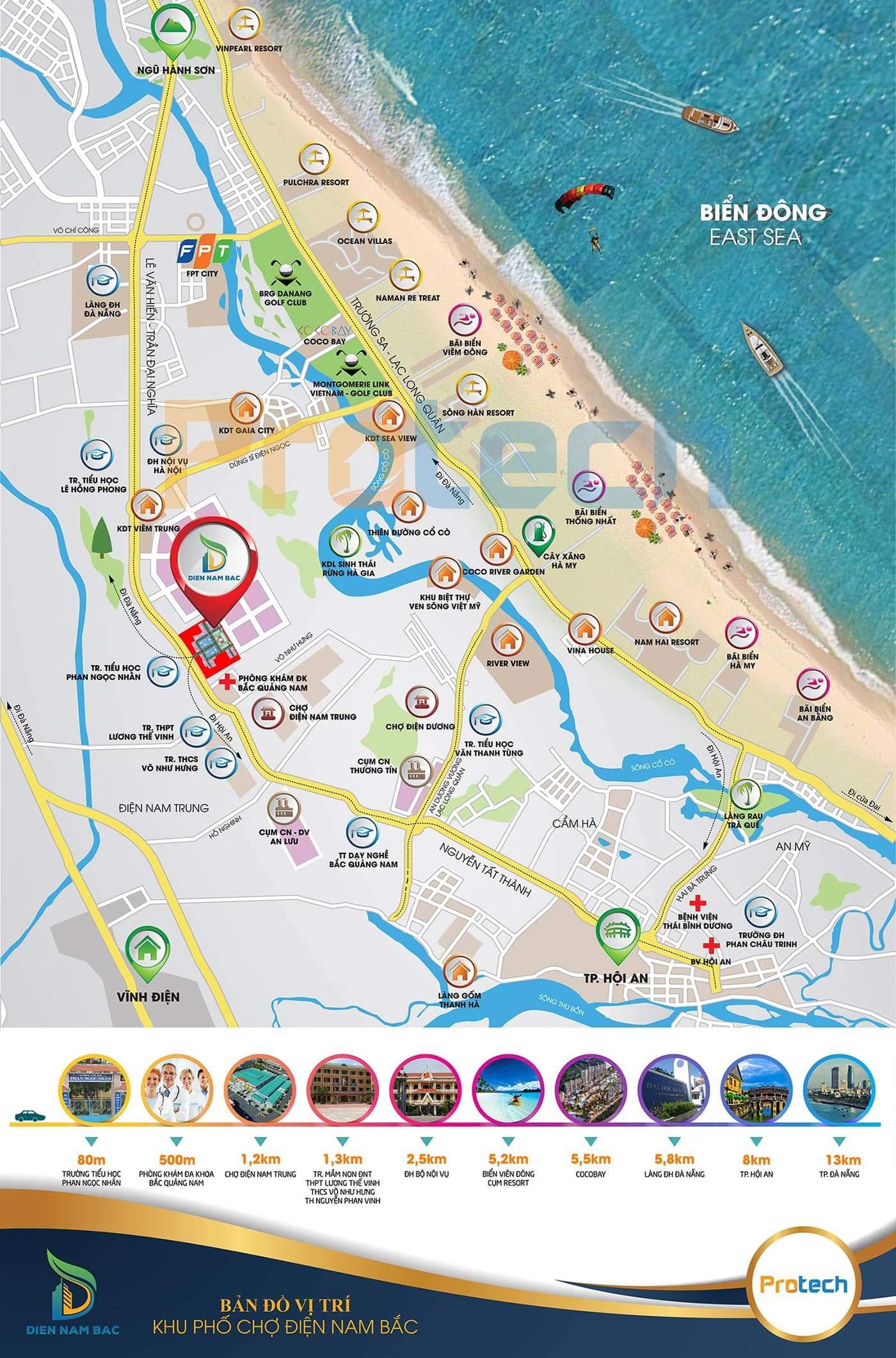 vị trí phố chợ Điện Nam Bắc