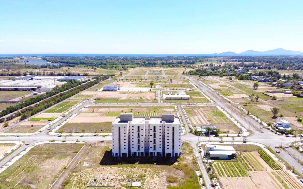 ảnh chụp thực tế khu đô thị Điện Nam Village đang xây dựng
